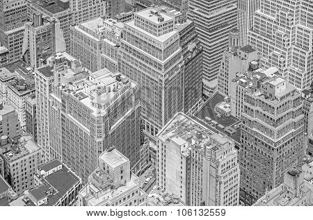 Black And White Picture Of Highrise Buildings, Manhattan, Nyc.