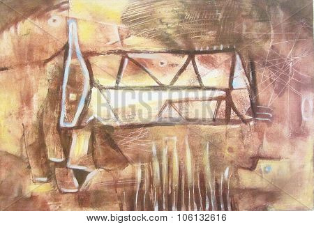Beige And Brown Abstract Art Painting With Geometric Shapes.