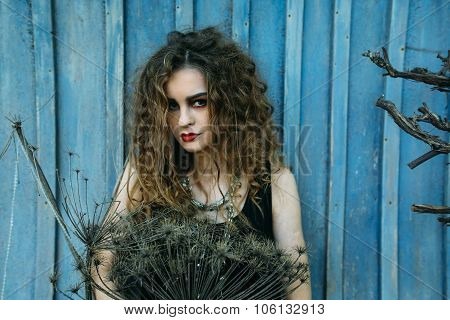 Vintage woman as witch