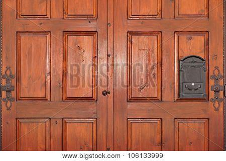 Heavy Paneled Double Leaf Mahogany Hardwood Door With Iron Mailbox