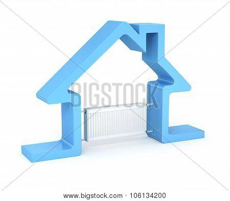 Radiator And House Isolated On White Background