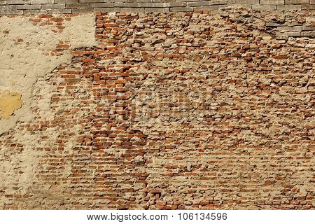 Old Uneven Rough And Blotch Large Red Brick Wall Texture