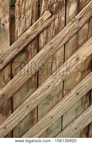 Old Wood Planking With Weathered Green Paint Vertical Texture