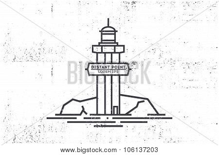 Beacon Line Illustration. Stock Vector.