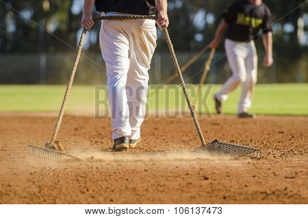 Preparing Baseball Field