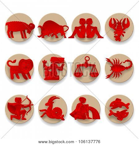 Set of red zodiacal signs with figure on beige corrugated paper circles. Original design. Vector illustration