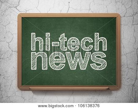 News concept: Hi-tech News on chalkboard background