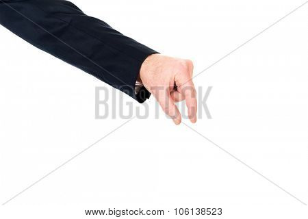 Businessman hand showing small size with fingers.