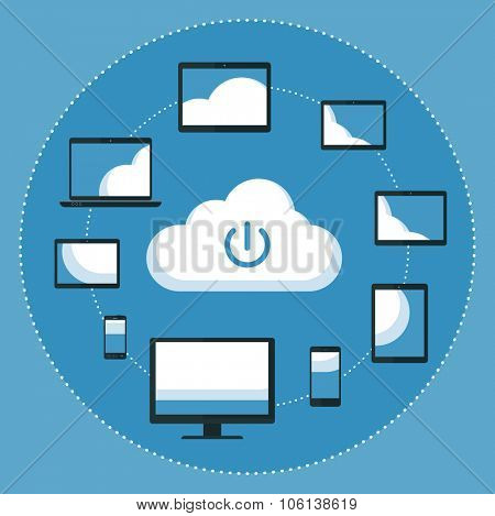 Cloud computing concept. Vector illustration Flat design illustration of hands holding various devices connecting to the cloud
