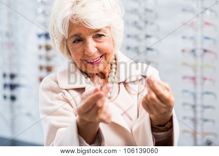 Senior Woman Buying New Eyeglasses
