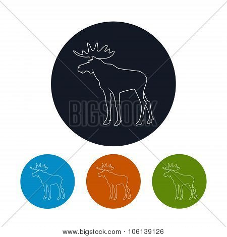 Icon Of A Moose Bull With Antlers