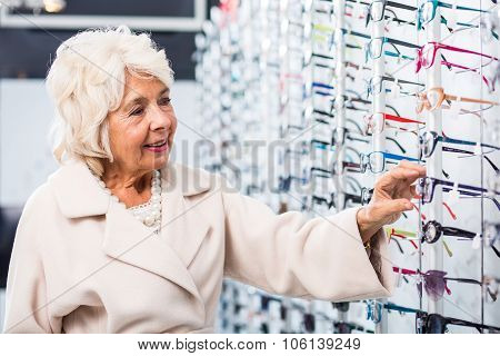 Senior Woman Buying Eyeglasses