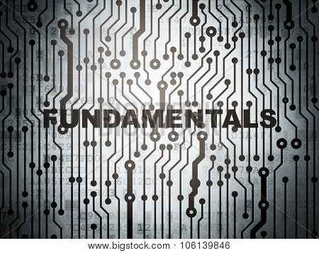 Science concept: circuit board with Fundamentals