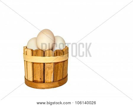 Duck Eggs On White Background With Clippingpath