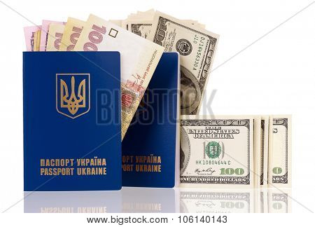International Ukrainian passport with Hryvna and US dollars banknotes isolated on white background