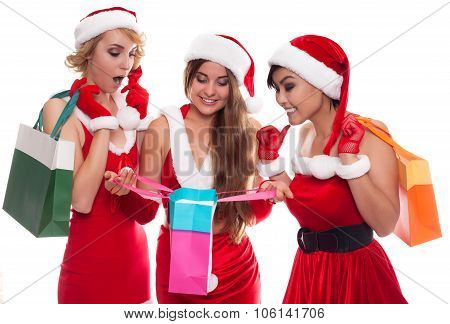 Beautiful Sexy Girls Wearing Santa Claus Clothes With Shoping Bag