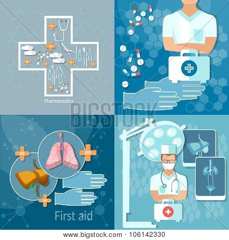 Medicine Doctor In Hospital Medicine Technology Medical And Health Care Anatomy Surgery  Set