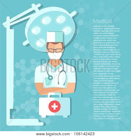 Surgeon In The Operating Room Medical Background Vector