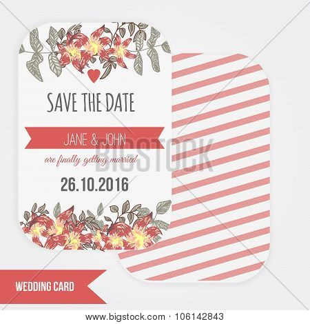 Vector  save the date card  with hand drawn vintage  flower in rustic style and lettering.
