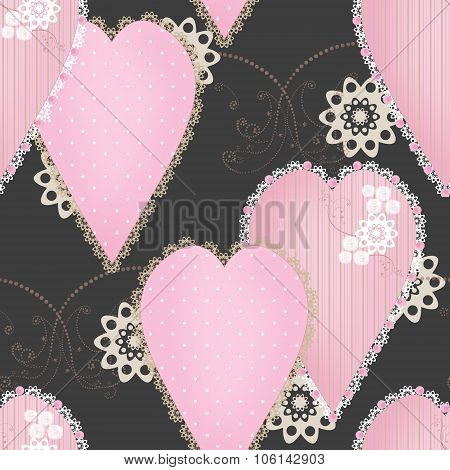 Patchwork Design Seamless Pattern With Hearts And Elements Background