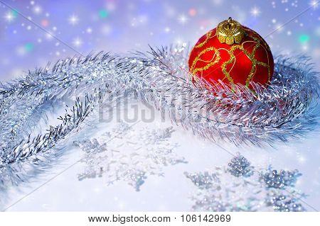 Christmas Ball, Tinsel And Snowflakes.christmas Decorations.
