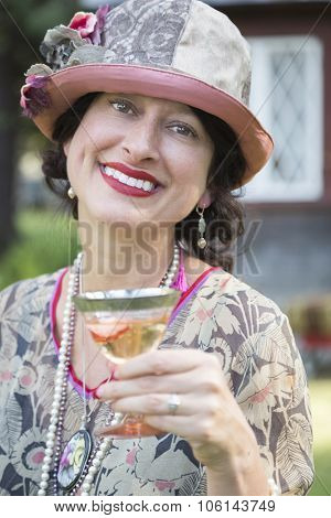 Beautiful 1920s Dressed Girl With Glass of Wine Portrait.