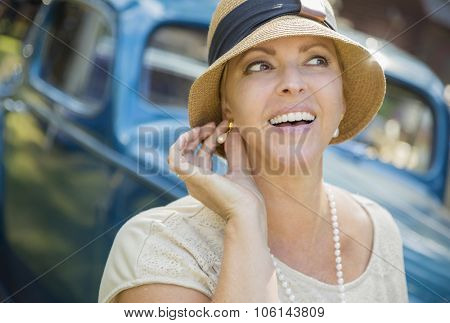 Beautiful 1920s Dressed Girl Near Vintage Car Outdoors Portrait.