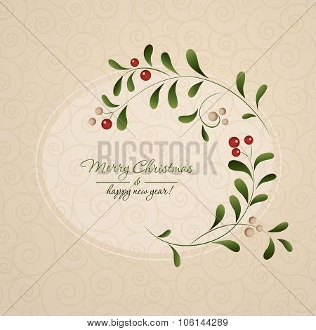 Green sprig with red berries frame isolated on vintage background