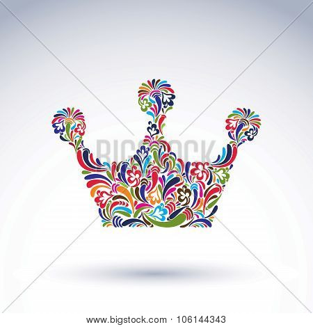 Colorful Flower-patterned Crown, Coronation Design Element. Classic Royal Accessory Decorated