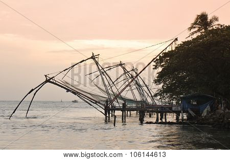Chinese Fishing Nets At Dusk