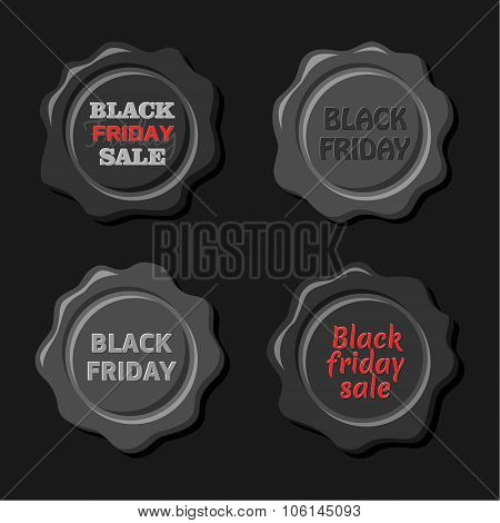 Black friday vector set of black wax stamps