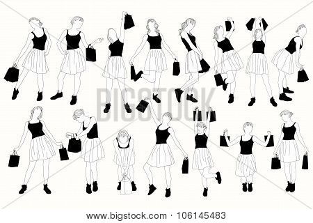 Collection shopping girls vector silhouettes.