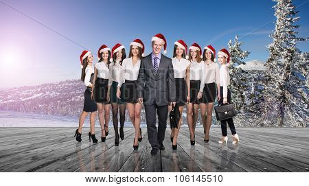 Business people selebrating christmas corporate