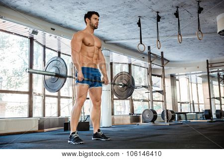 Portrait of a muscular man workout with barbell in fitness gym