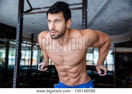 Portrait of a handsome man doing exercise on parallel bars in fitness gym