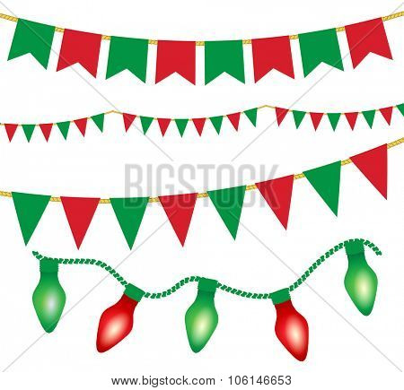 Christmas lights ans flag garlands set. Red and green christmas elements. Vector illustration for posters, banners, invitation, greeting cards, holiday menu design.