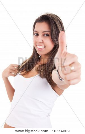 Pretty Girl With Thumb Raised As A Sign Of Success, Isolated On White Background. Studio Shot.