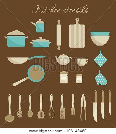 Kitchen utensils set.