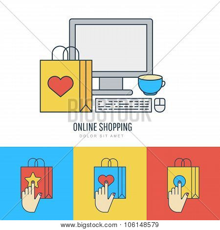 Set Vector Flat Style Illustration, Online Shopping And E-commerce Theme.
