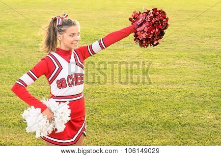 Portrait Of A Cheerleader In Action
