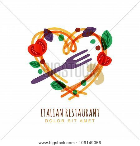 Hand Drawn Illustration Of Italian Spaghetti In Heart Shape, Tomato, Basil And Fork.