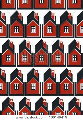 Real Estate Theme Symmetric Vector Seamless Pattern, Abstract Houses Depiction. Property