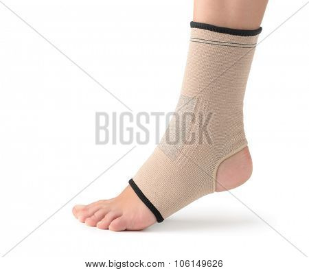 Elastic ankle support isolated on white