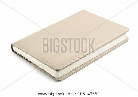 New closed hardcover book isolated on white