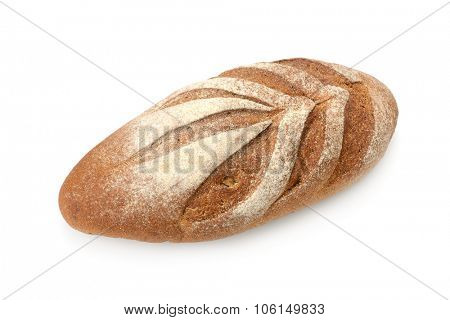 loaf of rye bread isolated on white