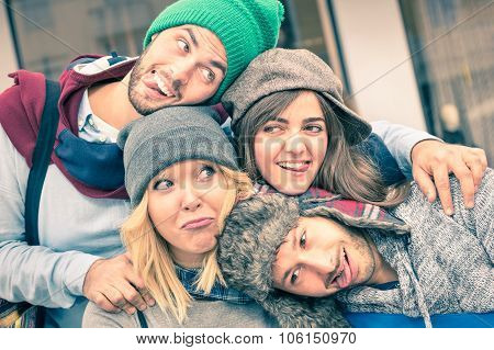 Group Of Best Friends Taking Selfie Outdoors With Funny Face Expression And Fashion Clothes