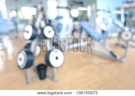 Abstract Defocused Gym Background - Blurred Bokeh Of Modern Fitness Studio Club With Natural Light