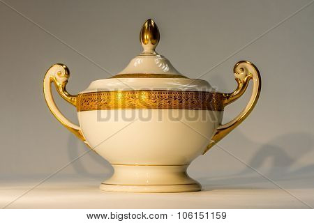 Enlighted Isolated White-gold and white urn