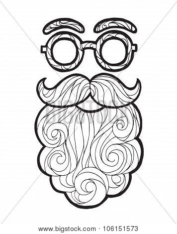 Vector illustration mustache fashionable hipster style, curly beard and round glasses