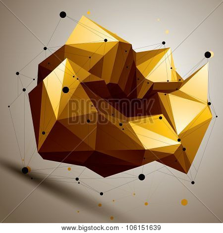 Vector Complicated 3D Figure, Modern Digital Technology Style Form. Abstract Colorful Complex Object